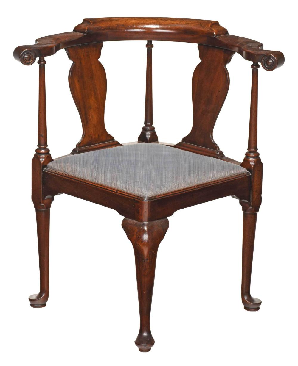 Queen Anne Style Mahogany Corner Chair
