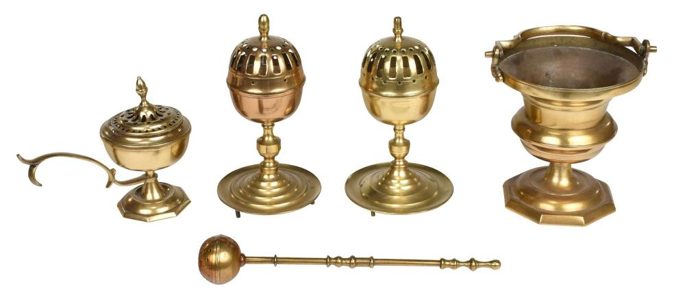 Five Continental Brass Liturgical Objects