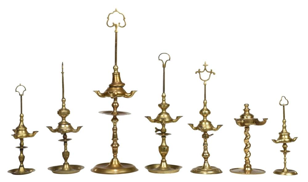Seven British/Continental Brass Whale Oil Lamps