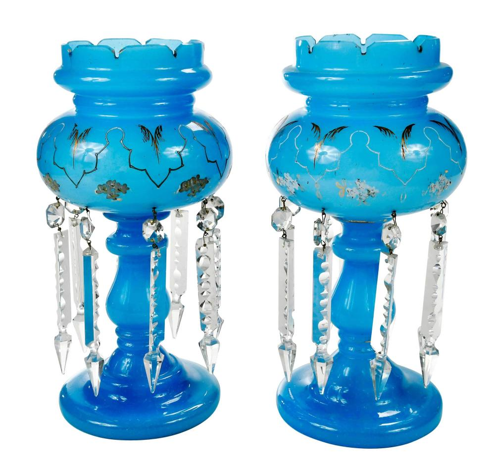 Pair of Opalescent Blue Glass Lustres