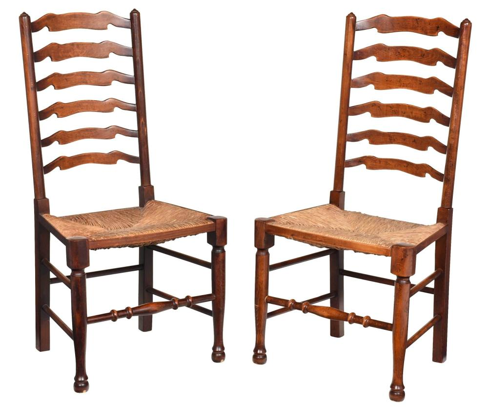 Pair Provincial Beechwood Ladder Back Side Chairs