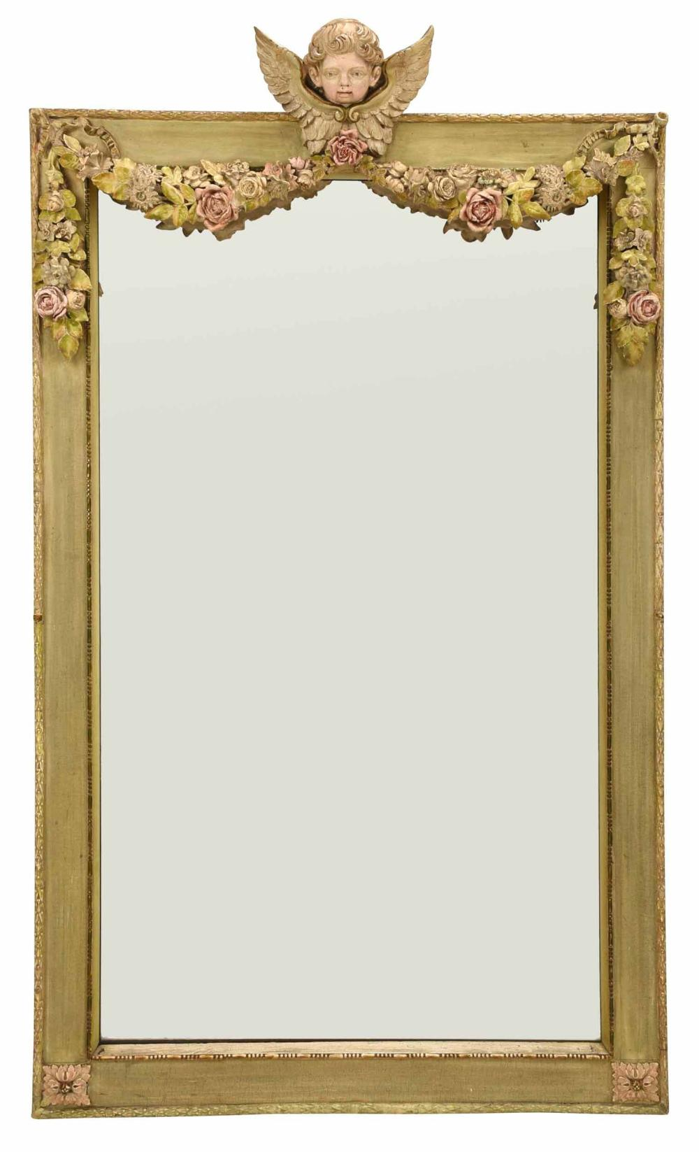 Venetian Baroque Style Carved Polychromed Mirror
