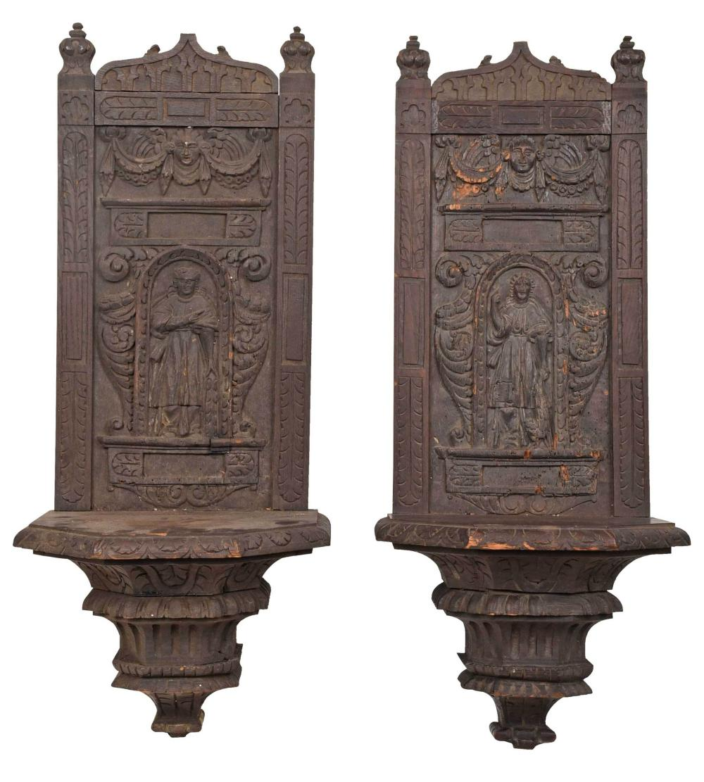 Pair Gothic or Gothic Style Carved Oak Wall Brackets