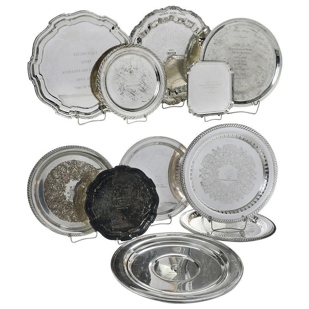 Twelve Silver Plate Trophy Trays