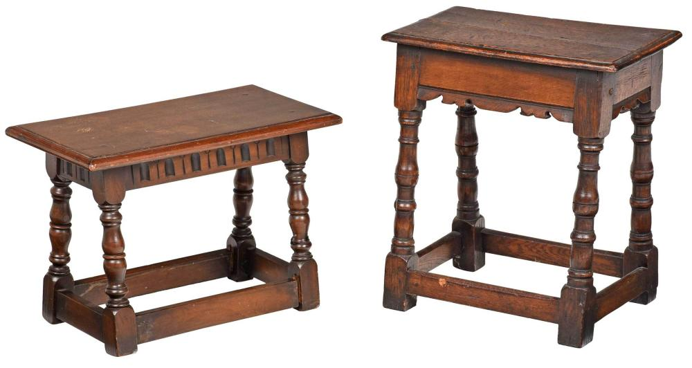 Two William & Mary Style Oak Joint Stools
