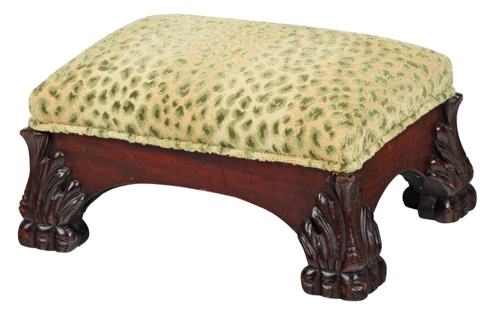 Classical Style Carved Mahogany Upholstered Footstool