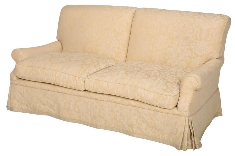 Contemporary Cream Damask Upholstered Settee