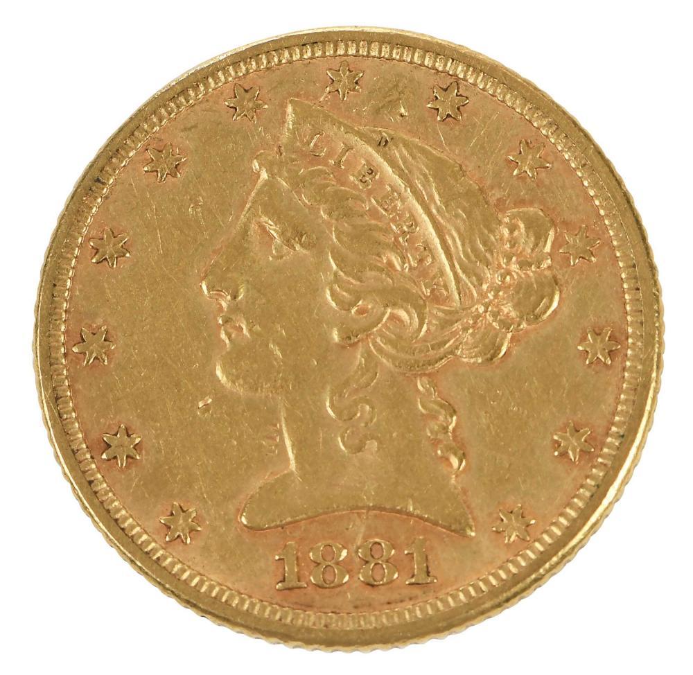 1881 $5 Gold Coin