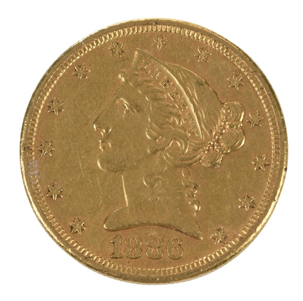 1886-S $5 Gold Coin