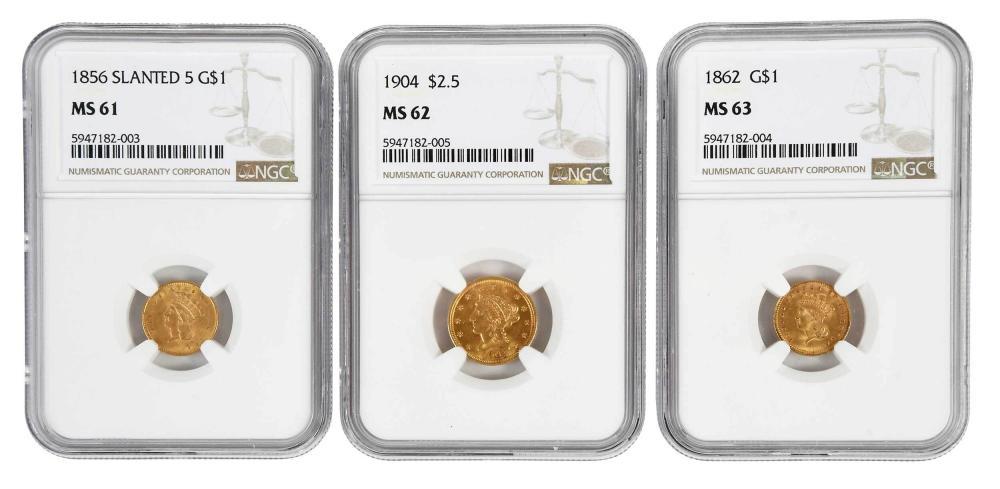 Three Graded U.S. Gold Coins