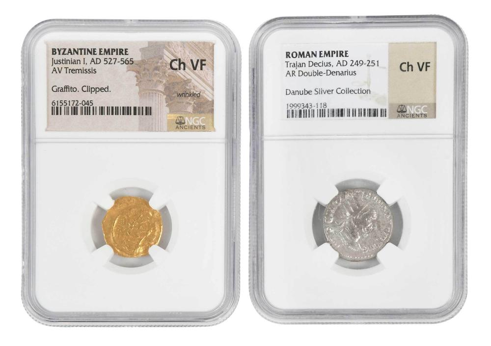 Two Ancient Coins, Silver and Gold