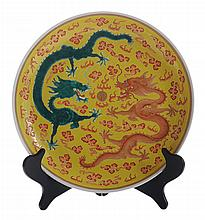 Heavily Enameled Dragon Dish