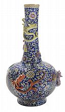 Blue-Ground Bottle Vase With