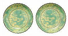 Pair Yellow-Ground Green-Glazed