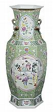 [Famille Verte] Hexagonal Floor Vase