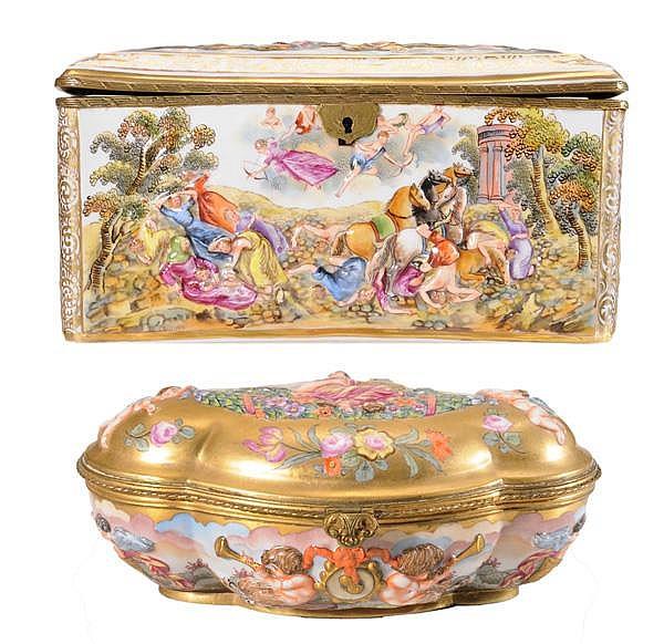 Two Capodimonte Porcelain Boxes