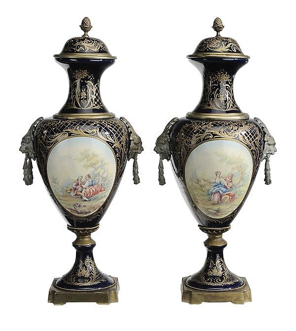 Large Pair Sévres Style Blue and White