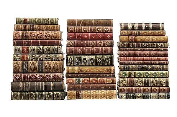 Thirty-Four Fine Leather-Bound Books