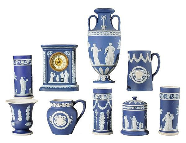 Nine Pieces Blue Jasperware