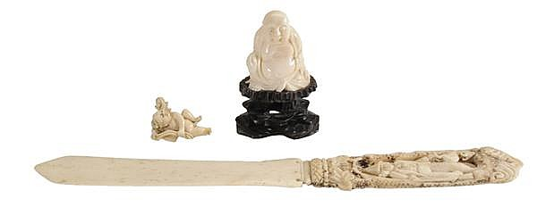 Carved Ivory Letter Opener, Buddha and