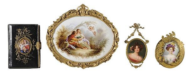 Four Hand-Painted Porcelain Plaques