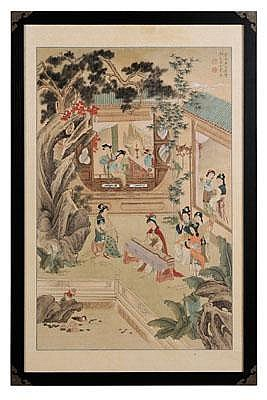 Silk Hanging Scroll Chinese, in the manner of Wu