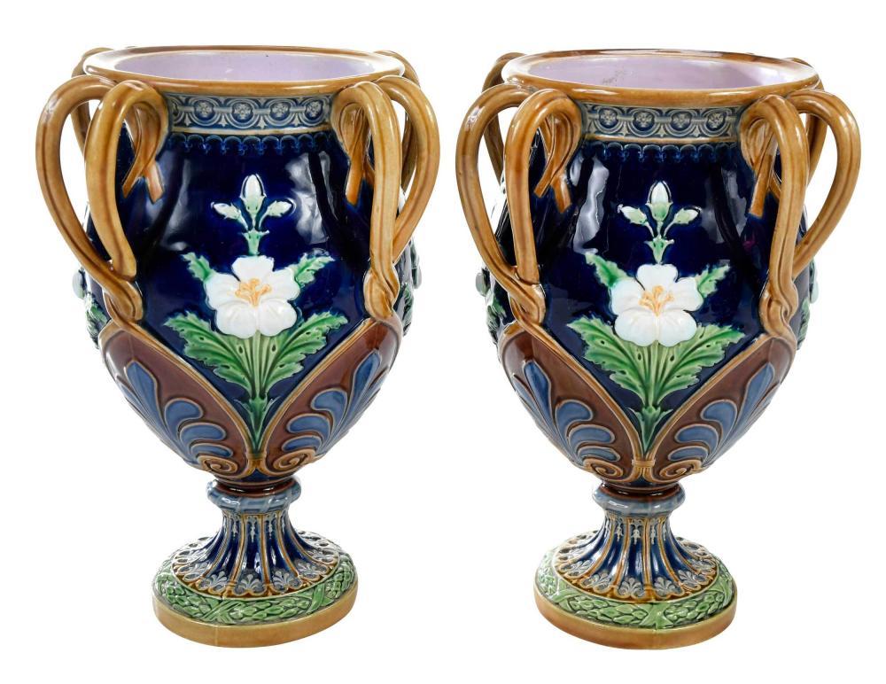 Pair of Minton Majolica 'Shrewsbury' Vases