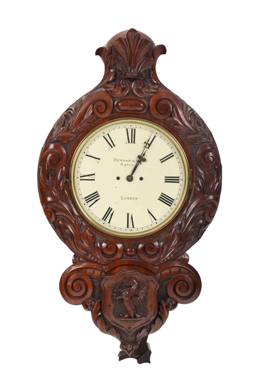 Benham & Sons Carved Mahogany Wall Clock