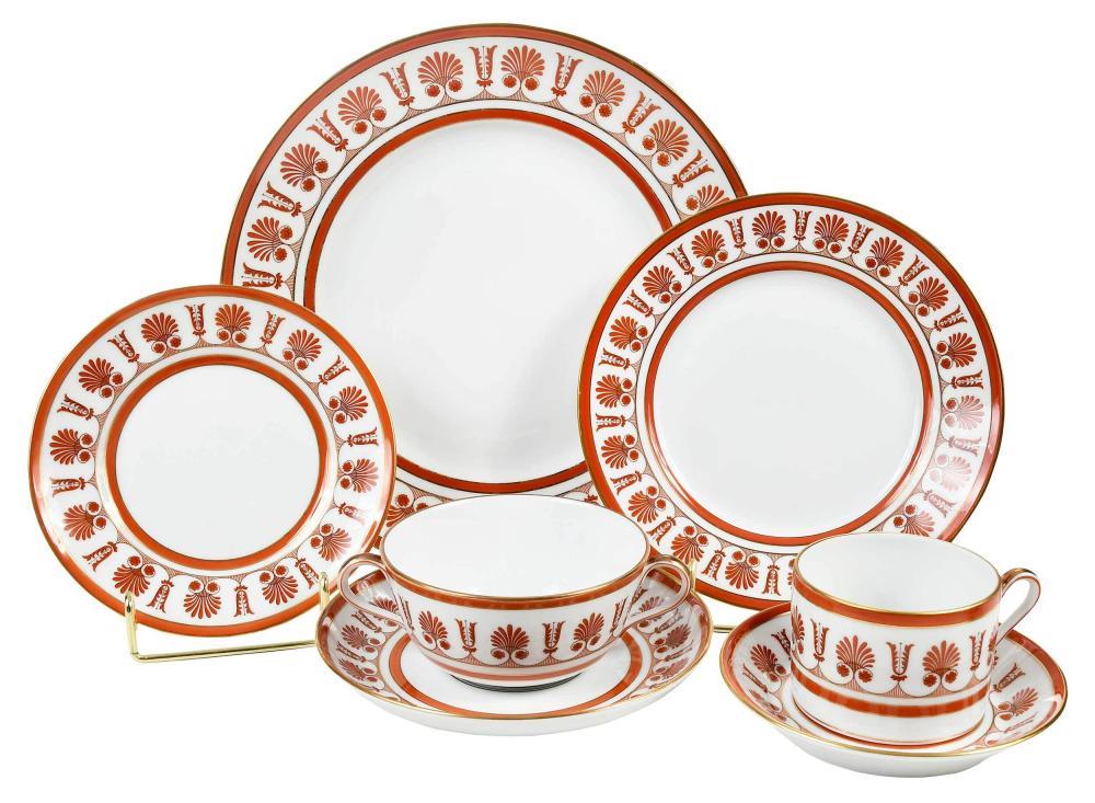 "Richard Ginori ""Ercolano Red"" Porcelain Dinner Service"