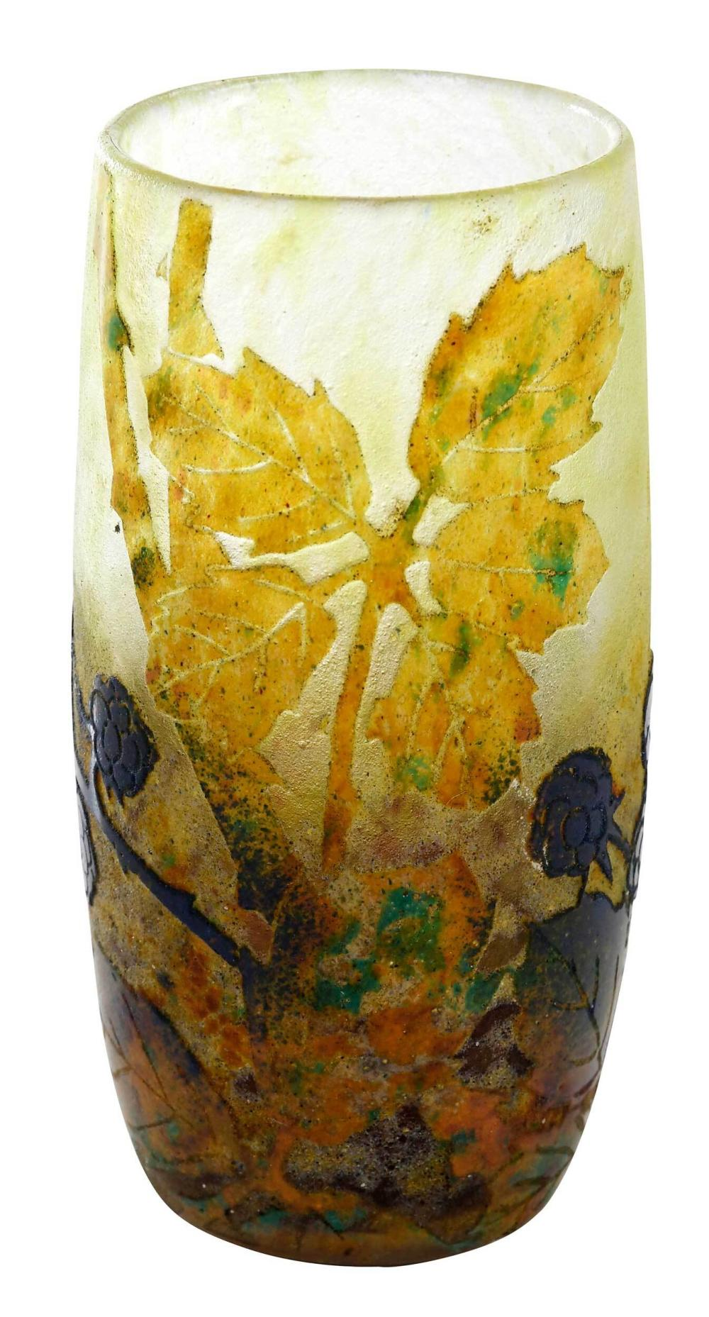 Small Daum Nancy Cameo Art Glass Vase