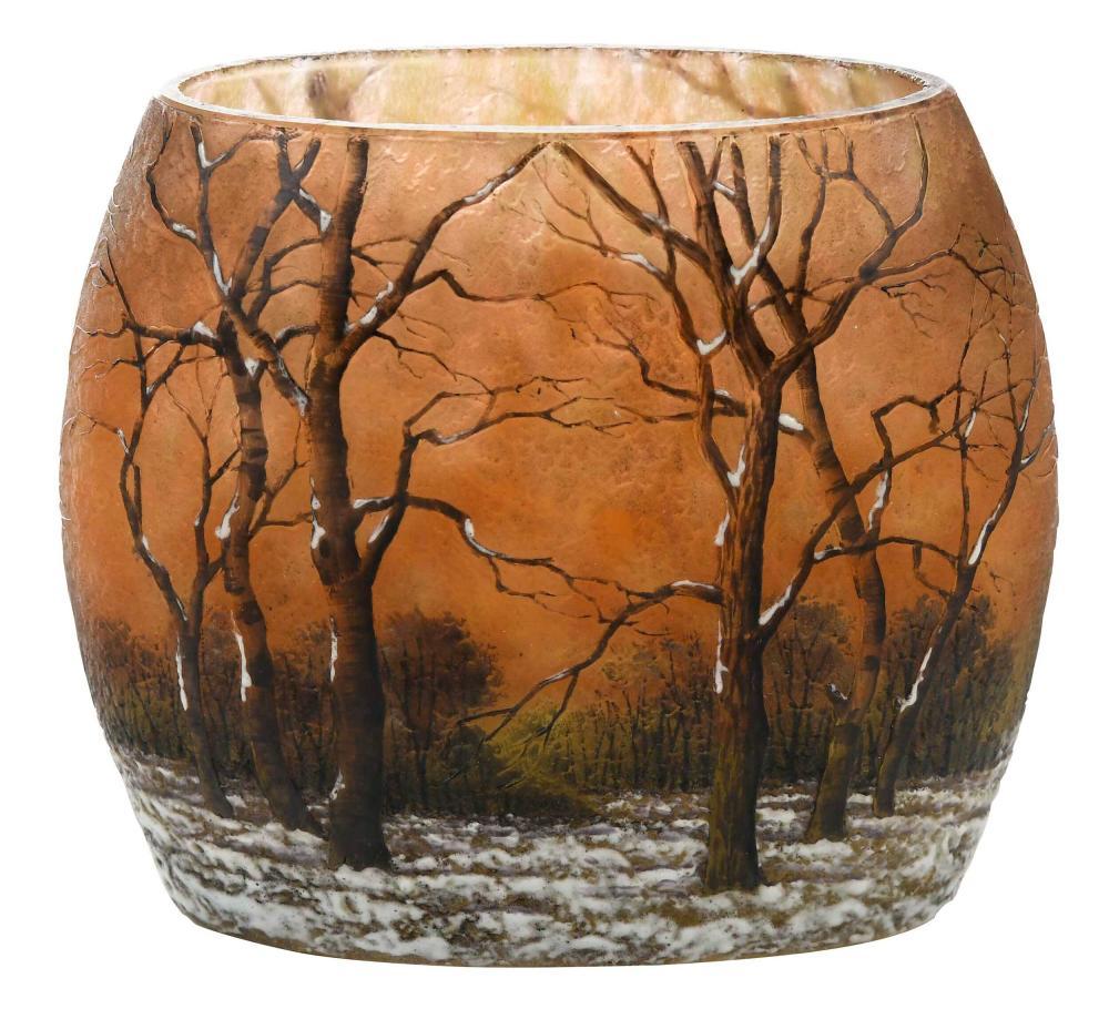 Daum Nancy Winter Scene Glass Vase