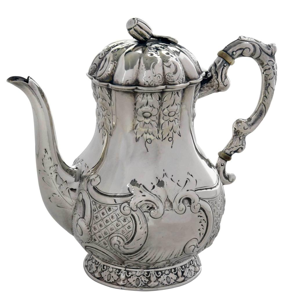 New Orleans Coins Silver Coffeepot, Adolphe Himmel