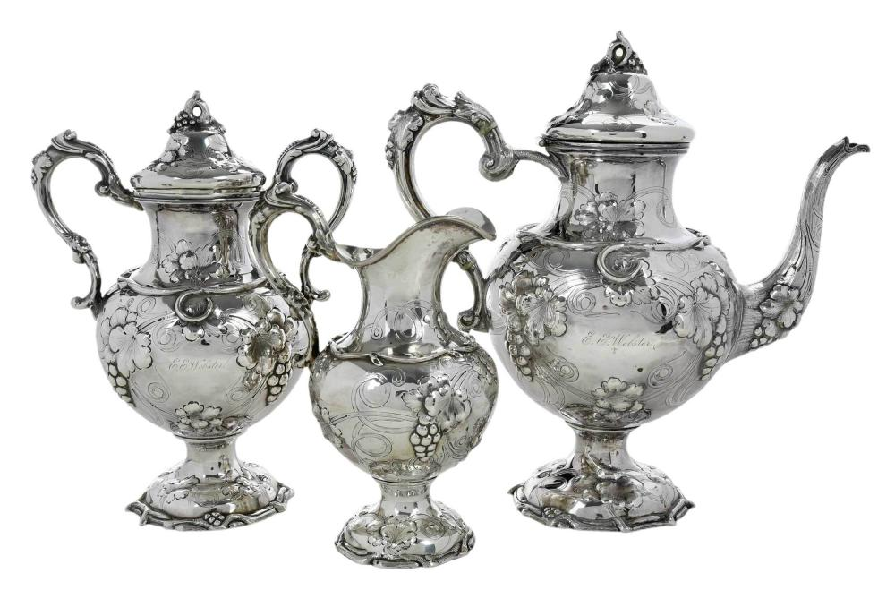 Three Piece Mitchell and Tyler Coin Silver Tea Service