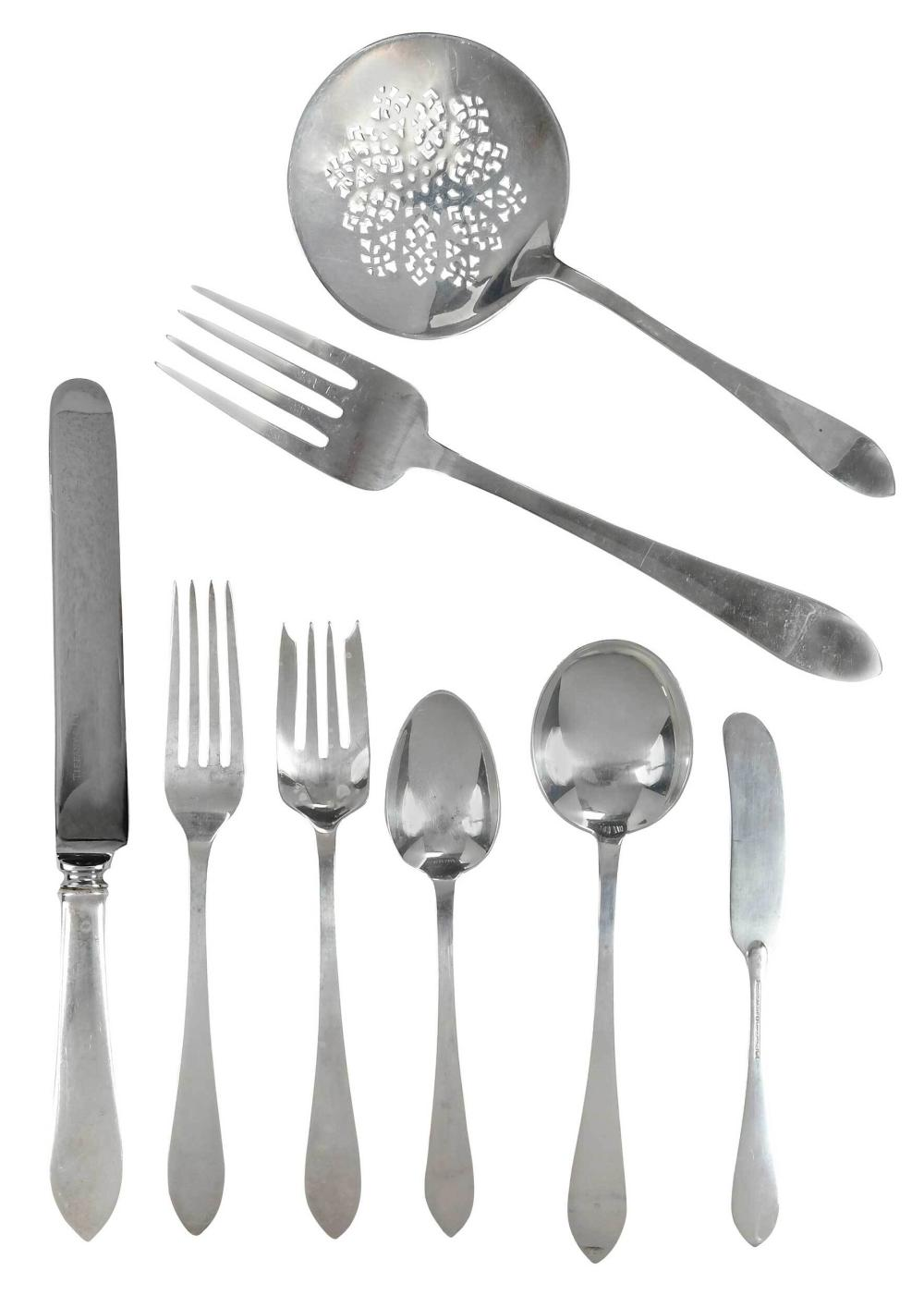 Tiffany Faneuil Sterling Flatware, 80 Pieces