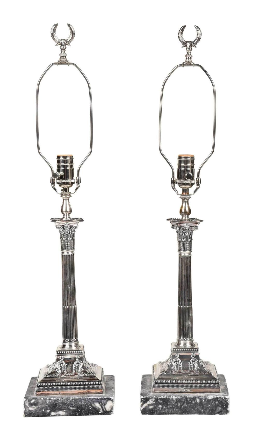 Pair of English Silver Candlesticks/Lamps