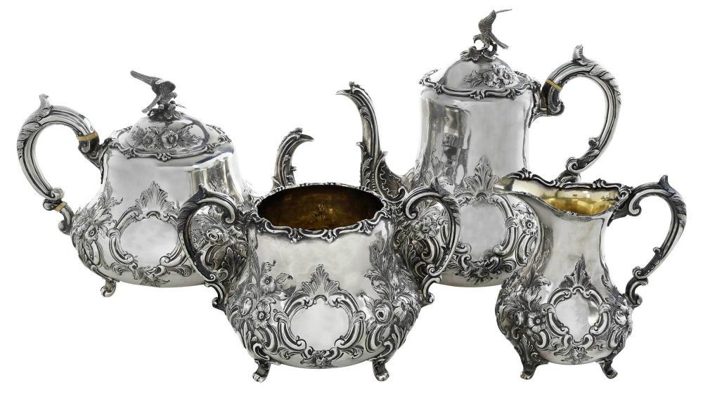 Four Piece Victorian English Silver Tea Service