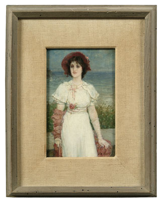 Painting signed ?E.A. Abbey? girl in white dress in coastal