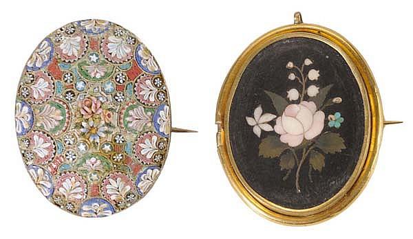 Micromosaic Brooch, [Pietra Dura]