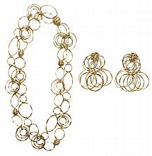 Cartier 18 Kt. Gold Necklace, Earrings