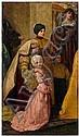 Pre-Raphaelite painting, mother kneeling with