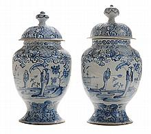 Pair Delft Blue and White Lidded Jars