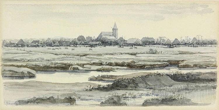 Gelder, D. van (1907-1990). (Texel). Watercolour,