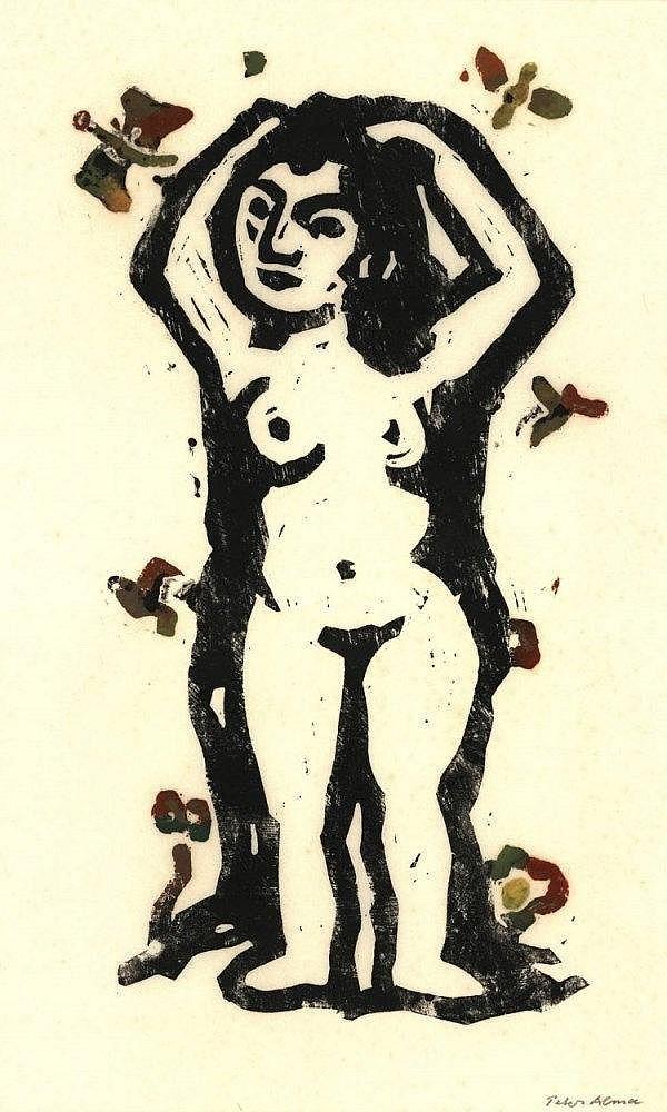 Alma, P. (1886-1969). (Female nude). Linocut, prin