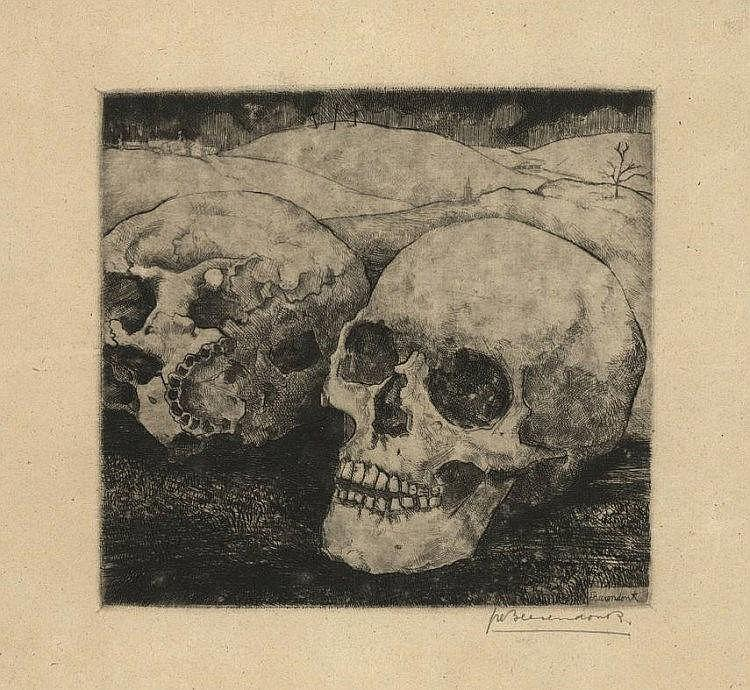 Beerendonk, T.H.J. (1905-1979). (Two skulls in a l
