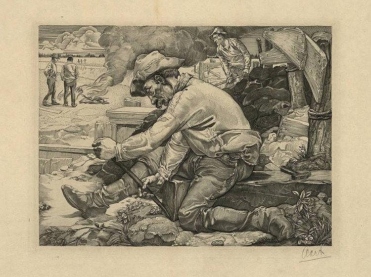 Aarts, J.J. (1871-1934). Dijkwerker. Copperengravi