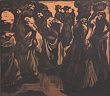 Aarts, J.J. (1871-1934). Dames in de regen. Woodcu