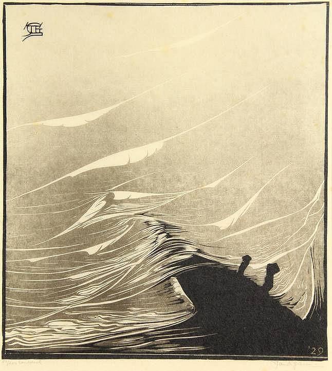Giesen, J.T. (1900-1983). (Waves). Woodcut in blac