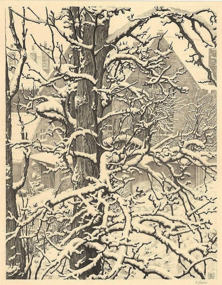 Gelder, D. van (1907-1990). Sneeuw, Veere. Lithogr