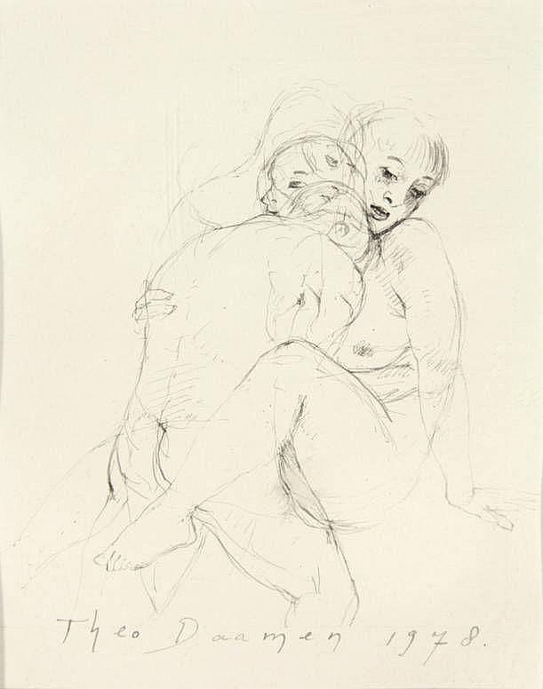 Daamen, T. (b.1939). (Couple making love). Drawing