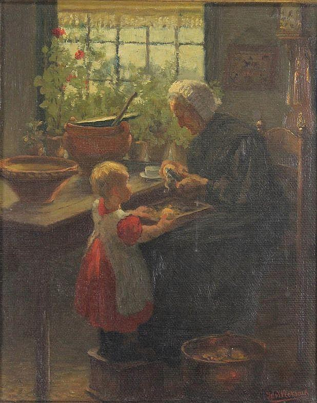 Wiersma, I. (1878-1965). (Little girl helping her